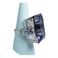 Giant Amethyst Diamond Platinum 14K Pink Gold Cocktail Ring 41ct