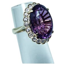 Giant Amethyst Diamond 18K Gold Cocktail Ring Designer