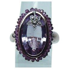 Vintage 14K Rose Pink Gold Diamond Amethyst Ruby Ring Estate