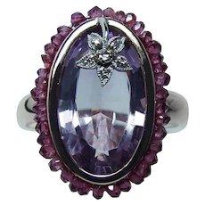 Vintage Amethyst Ruby Diamond 14K Rose Pink Gold Ring