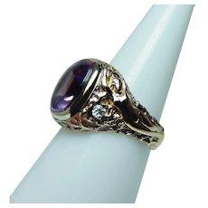 Art Nouveau Nude Female Amethyst European Diamond Ring 14K Gold