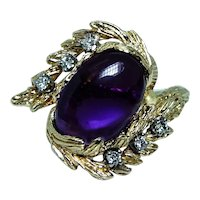 Amethyst Diamond Leaf Ring 18K Gold Designer Signed