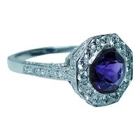 Platinum Amethyst Diamond Halo Ring