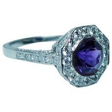 Platinum Amethyst Diamond Halo Ring