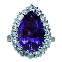 18K Gold Diamond Amethyst Cocktail Ring .95ct VS-FG