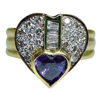 18K Amethyst Diamond Baguette Heart Ring Gold