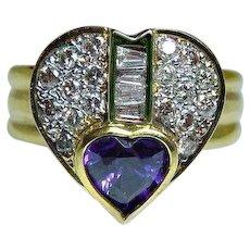 18K Amethyst Diamond Baguette Heart Ring Gold Estate