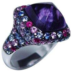 Vintage Amethyst Sapphire Ruby Ring 18K White Gold Sugarloaf HEAVY Estate