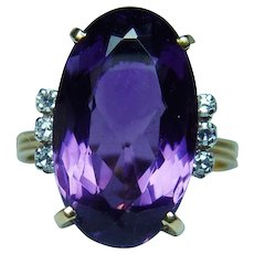 Designer H. Stern Amethyst Diamond Ring 18K Gold Platinum