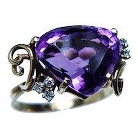 Designer H. Stern  Amethyst Diamond Ring 18K Gold Platinum