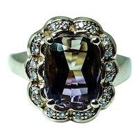 Vintage Cushion Ametrine Diamond Halo 14K Gold Ring Flawless Stone
