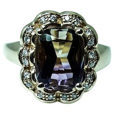 Vintage Cushion Ametrine Diamond Halo 14K Gold Ring Flawless Stone