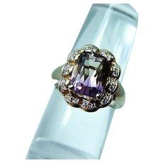 Cushion Ametrine Diamond Halo 14K Gold Ring Flawless