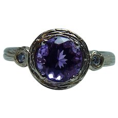 Amethyst Diamond Ring 14K Gold Textured Bark Mounting