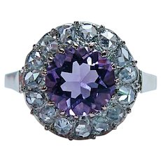 Victorian Antique Amethyst Rose cut Diamond Halo Ring 18K Gold
