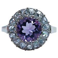 Victorian Antique Amethyst Rose cut Diamond Halo Ring 18K Gold