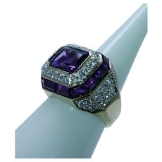 Vintage Amethyst Diamond Pave Halo Ring 14K Gold Estate