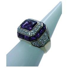 Vintage Amethyst Diamond Pave Halo Ring 14K Gold Estate