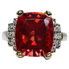 Rare 12ct Bright Orange Cushion Andesine Diamond Ring 18K Gold