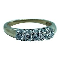 Diamond Filigree Anniversary Ring Band 14K Gold Vintage Estate 5 stone
