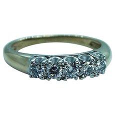 Diamond Filigree Anniversary Ring Band 14K Gold Vintage Estate 5 stone