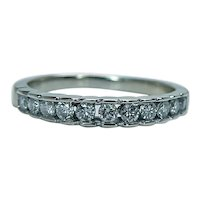 Diamond Anniversary Ring Band 14K White Gold 11 stone Vintage Estate