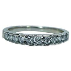 Diamond Anniversary Ring Band 14K White Gold 11 stone Vintage Estate
