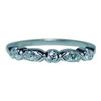 Platinum Diamond Marquise 5 stone Anniversary Wedding Ring Band