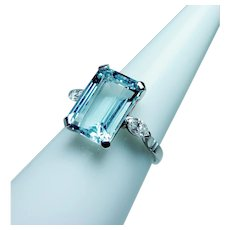 Vintage Platinum Aquamarine Marquise Diamond 3 stone Ring Estate 5ct