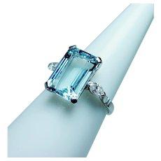 Vintage Platinum Aquamarine Marquise Diamond 3 stone Ring Estate 5ct