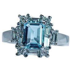 Vintage Flawless Aquamarine Baguette Diamond Ring 18K White Gold Estate Size 9
