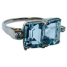 Vintage Double Aquamarine Diamond 18K Gold Filigree Ring Flawless
