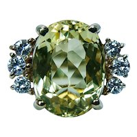 Vintage Yellow Beryl Aquamarine Diamond Ring High Quality 18K Gold Estate