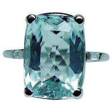 Vintage Platinum Aquamarine Diamond 3 stone Ring 4.5ct Cushion Estate