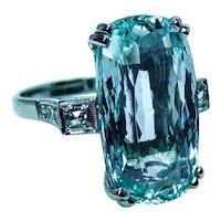 Art Deco Flawless Cushion Aquamarine Diamond Ring 18K White Gold Estate 12.5ct