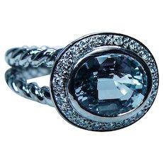 Vintage Aquamarine Diamond 14K White Gold Halo Ring Estate Twisted Shank