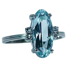 H Stern 18K White Gold Aquamarine Diamond Ring 3ct Designer Signed