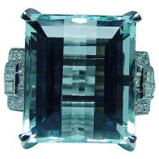 Vintage Platinum 18K Gold 15ct Flawless Aquamarine Diamond Ring Estate