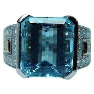 Richard Krementz Platinum 9.8ct Aquamarine Diamond Ring Designer  GIA cert
