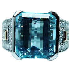 Richard Krementz Platinum 9.8ct Aquamarine Diamond Ring Designer RKG 1866  Certificate