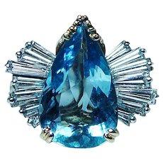 McTeigue Aquamarine Diamond 18K Gold Platinum Ring Designer
