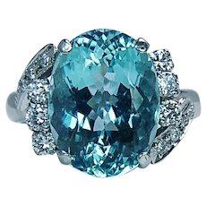 High Quality Aquamarine Diamond Platinum Ring Estate 5.5ct