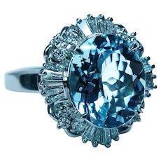 Vintage Flawless Aquamarine Baguette Diamond Ballerina Ring Platinum Estate Heavy 12gr