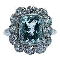 Antique Cushion Aquamarine Mine cut Diamond 18K Gold Halo Edwardian Ring