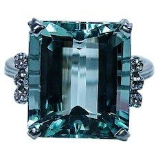 H Stern 12ct Aquamarine Diamond Ring 18K White Gold Estate