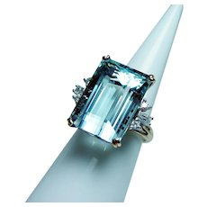 Vintage 18K Gold 18.9ct Aquamarine Diamond Ring Estate Huge Spectacular