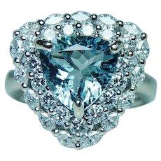Vintage 18K White Gold Aquamarine Diamond Marquise Halo Ring Heavy