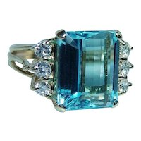 9.5ct Aquamarine Diamond Ring 14K Gold Heavy