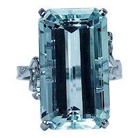 H Stern 17ct Emerald cut Aquamarine Diamond 18K White Gold Ring Designer Huge