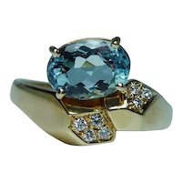 H Stern Aquamarine Diamond Ring 18K Gold Designer